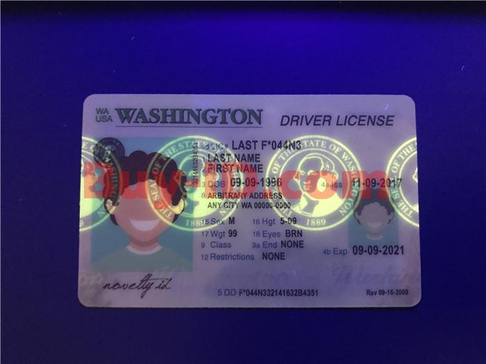 Washington ID UV rendering