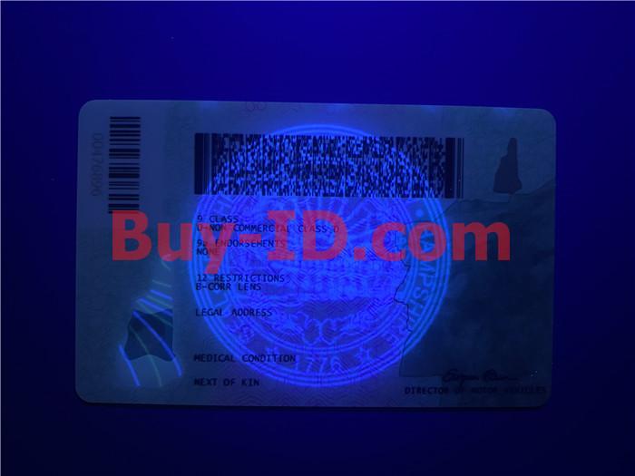 New Hampshire ID UV BACK
