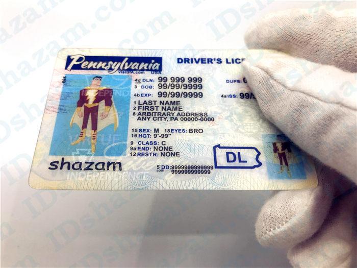 Premium Scannable Pennsylvania State Fake ID Card Handheld Display