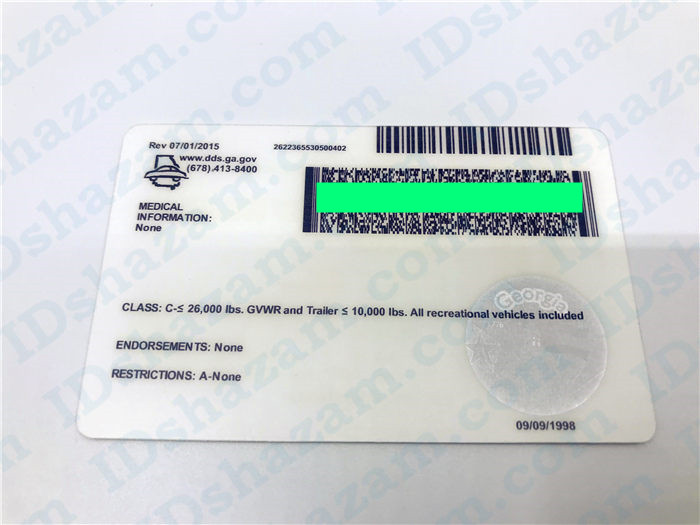 Premium Scannable Old Georgia State Fake ID Card Back Display