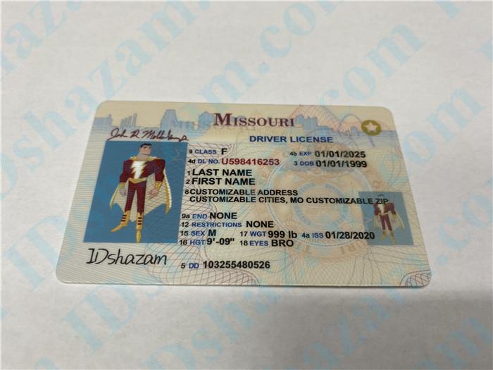 Premium Scannable Missouri State Fake ID Card Positive Display