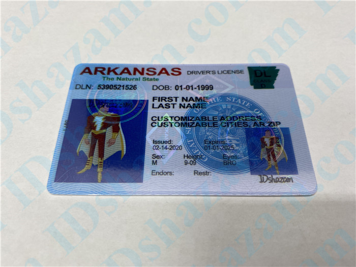 Premium Scannable Arkansas State Fake ID Card Positive Display