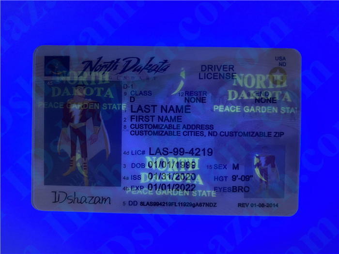 Premium Scannable North Dakota State Fake ID Card UV Anti-Counterfeiting Layer