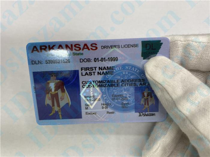Premium Scannable Arkansas State Fake ID Card Hologram Display