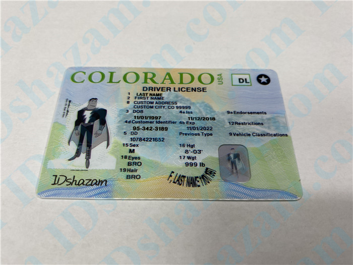 Premium Scannable New Colorado State Fake ID Card Positive Display