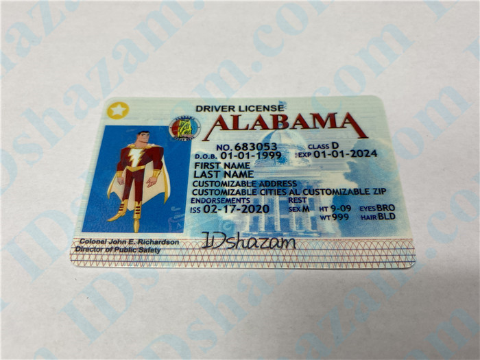 Premium Scannable Alabama State Fake ID Card Positive Display