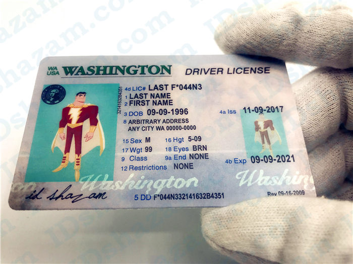 Premium Scannable Old Washington State Fake ID Card Handheld Display