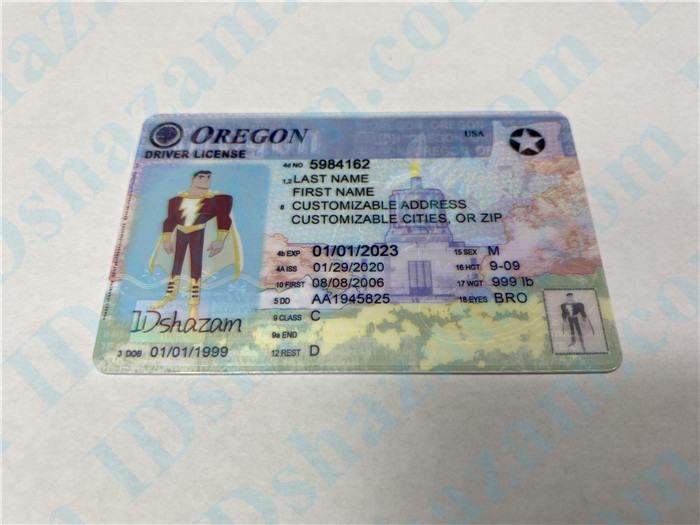 Premium Scannable Oregon State Fake ID Card Positive Display