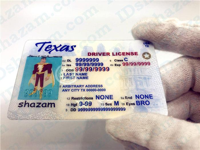 Premium Scannable Texas State Fake ID Card Handheld Display