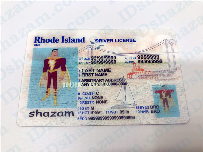 Premium Scannable Rhode Island State Fake ID Card Positive Display