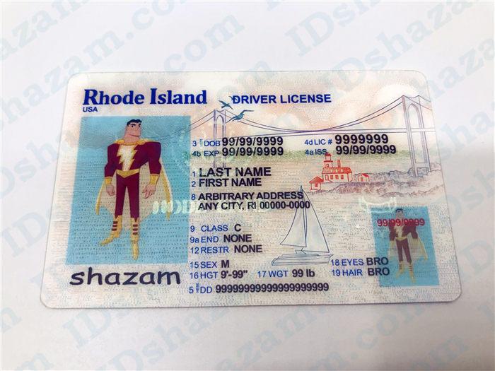 Premium Scannable Rhode Island State Fake ID Card Positive Display