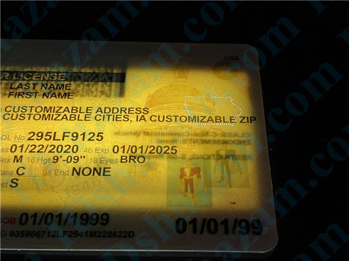 Premium Scannable Iowa State Fake ID Card Laser Micro-Perforation