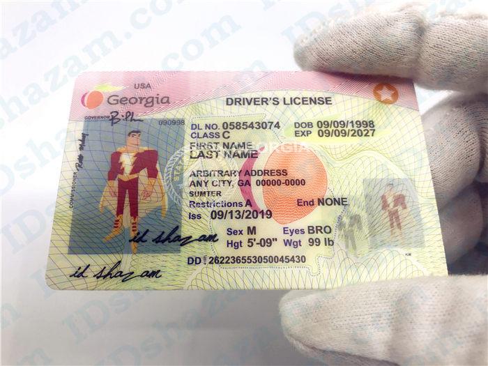 Premium Scannable Old Georgia State Fake ID Card Handheld Display