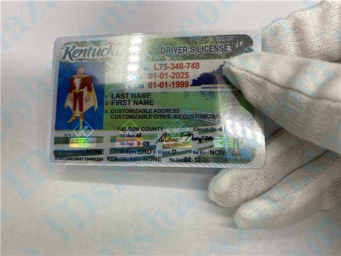 Premium Scannable Kentucky State Fake ID Card Hologram Display