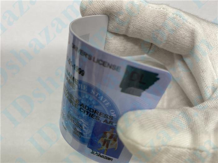 Premium Scannable Arkansas State Fake ID Card Bending Display