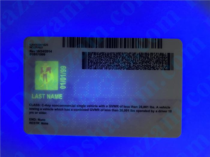 Premium Scannable North Carolina State Fake ID Card UV Anti-Counterfeiting Layer 2
