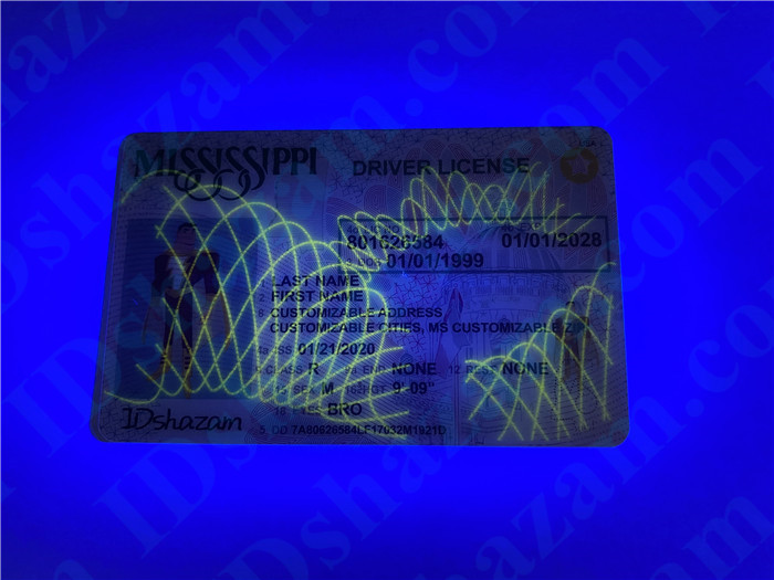 Premium Scannable Mississippi State Fake ID Card UV Anti-Counterfeiting Layer