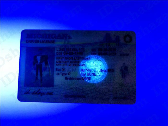 Premium Scannable Michigan State Fake ID Card UV Anti-Counterfeiting Layer