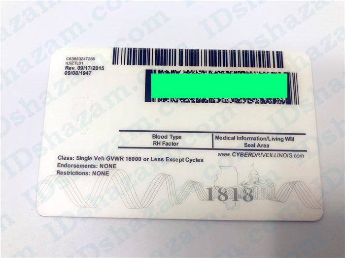 Premium Scannable Illinois State Fake ID Card Back Display