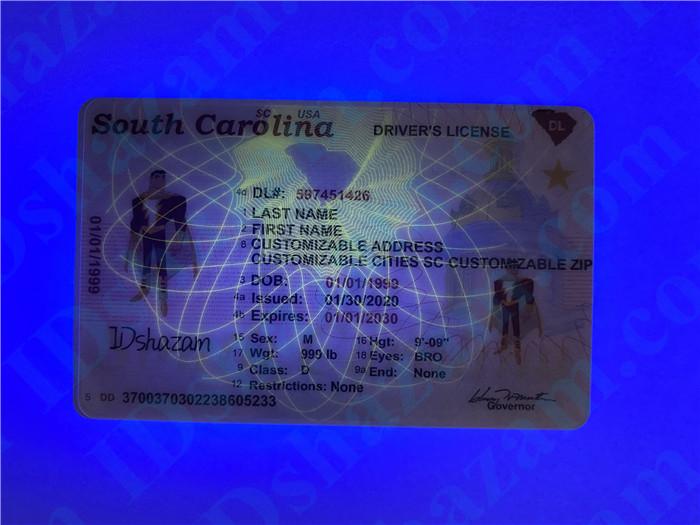 Premium Scannable New South Carolina State Fake ID Card UV Anti-Counterfeiting Layer
