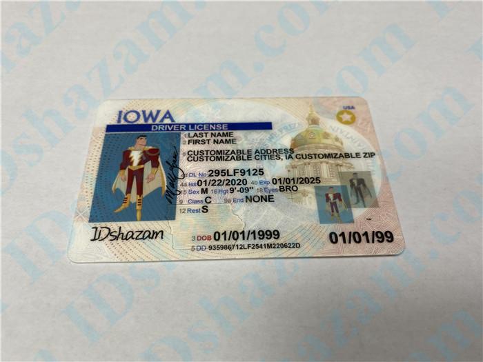 Premium Scannable Iowa State Fake ID Card Positive Display