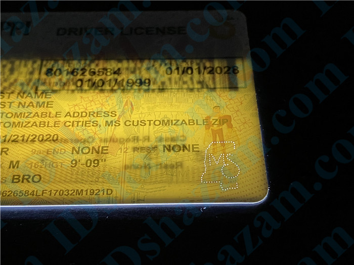 Premium Scannable Mississippi State Fake ID Card Laser Micro-Perforation
