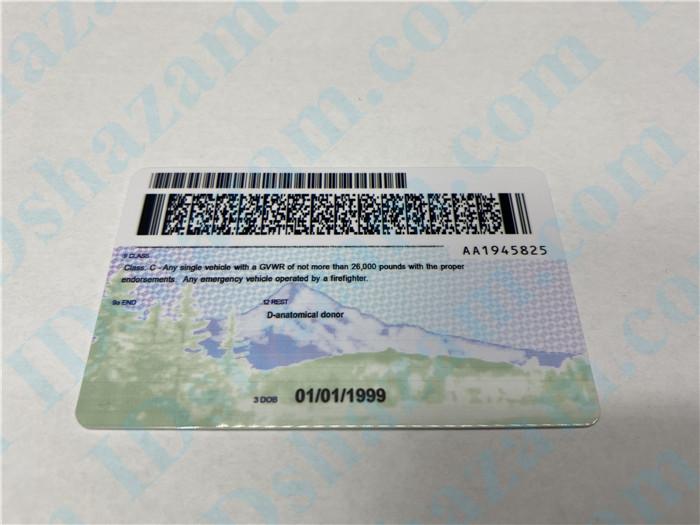 Premium Scannable Oregon State Fake ID Card Back Display
