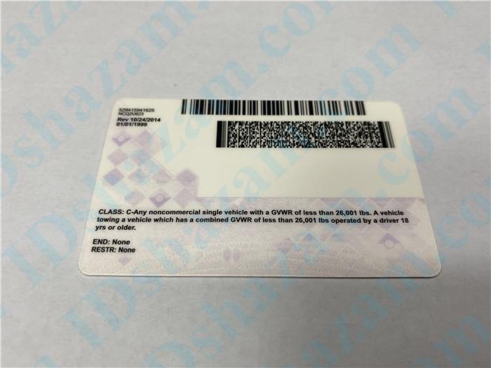 Premium Scannable North Carolina State Fake ID Card Back Display
