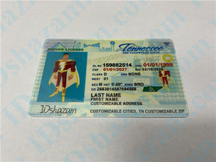 Premium Scannable Tennessee State Fake ID Card Positive Display