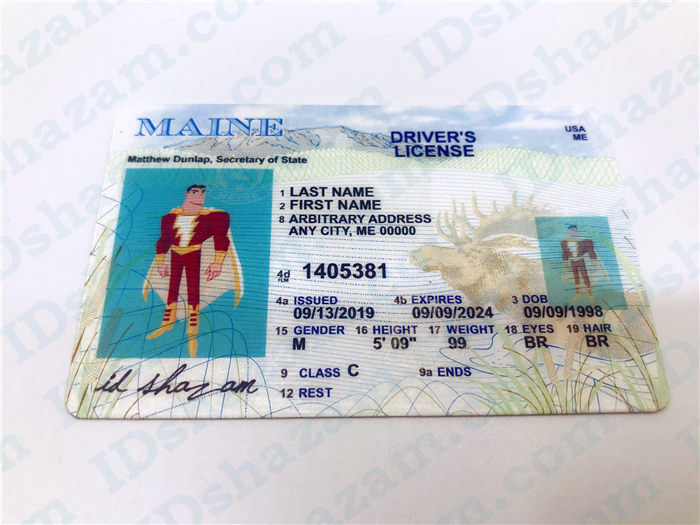 Premium Scannable Maine State Fake ID Card Positive Display