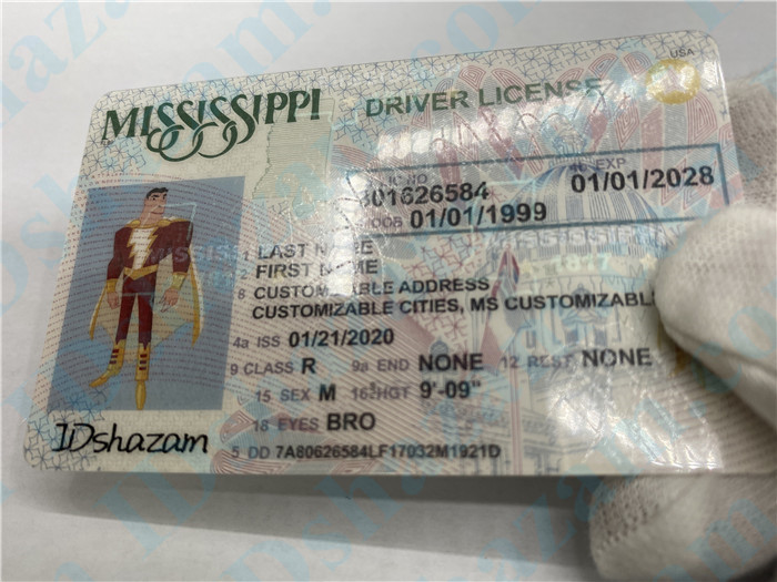 Premium Scannable Mississippi State Fake ID Card Surface Engraving