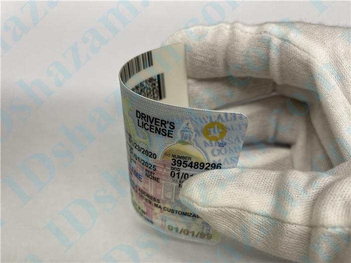 Premium Scannable Massachusetts State Fake ID Card Bending Display
