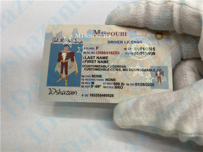 Premium Scannable Missouri State Fake ID Card Hologram Display