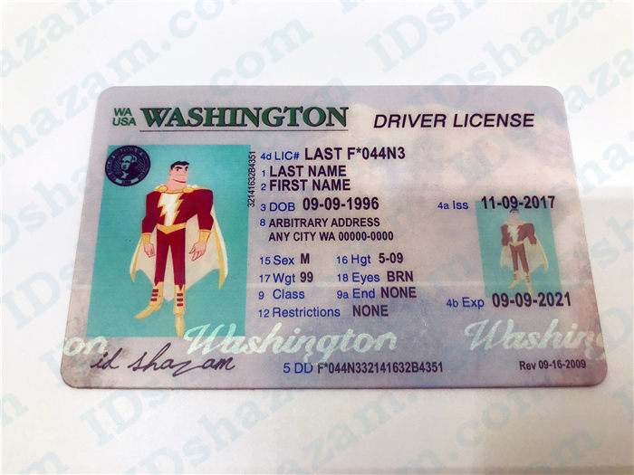 Premium Scannable Old Washington State Fake ID Card Positive Display