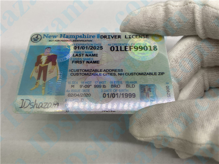 Premium Scannable New Hampshire State Fake ID Card Hologram Display