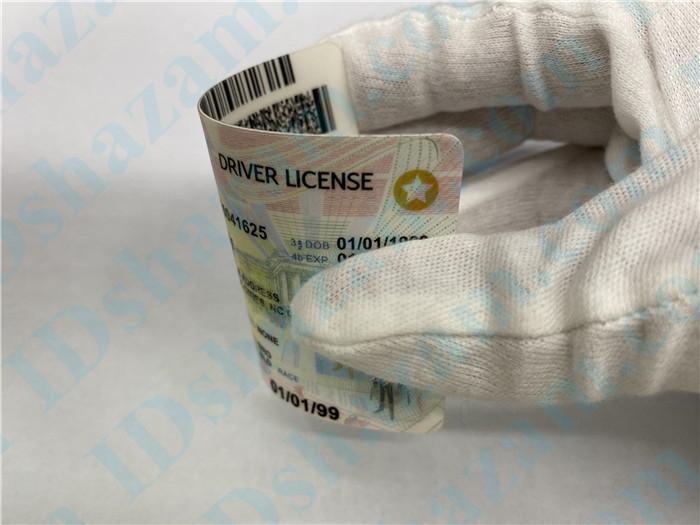 Premium Scannable North Carolina State Fake ID Card Bending Display