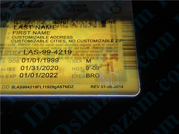 Premium Scannable North Dakota State Fake ID Card Laser Micro-Perforation