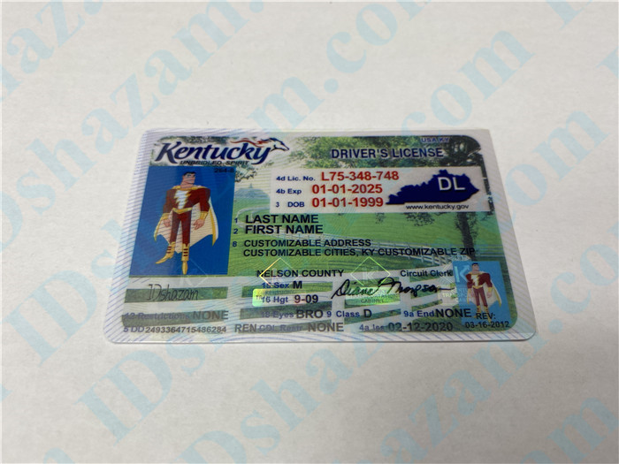 Premium Scannable Kentucky State Fake ID Card Positive Display