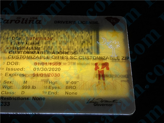 Premium Scannable New South Carolina State Fake ID Card Laser Micro-Perforation