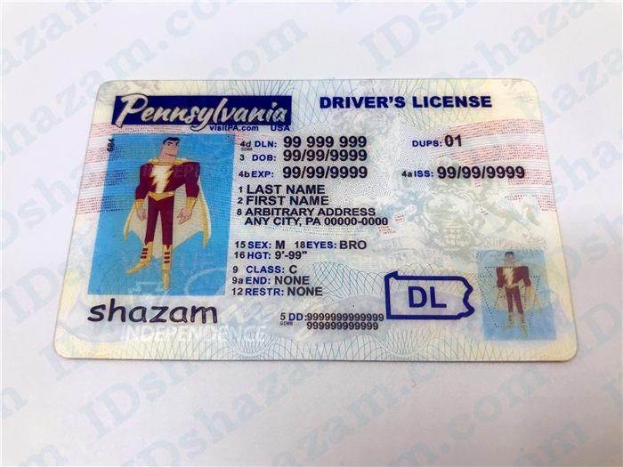 Premium Scannable Pennsylvania State Fake ID Card Positive Display