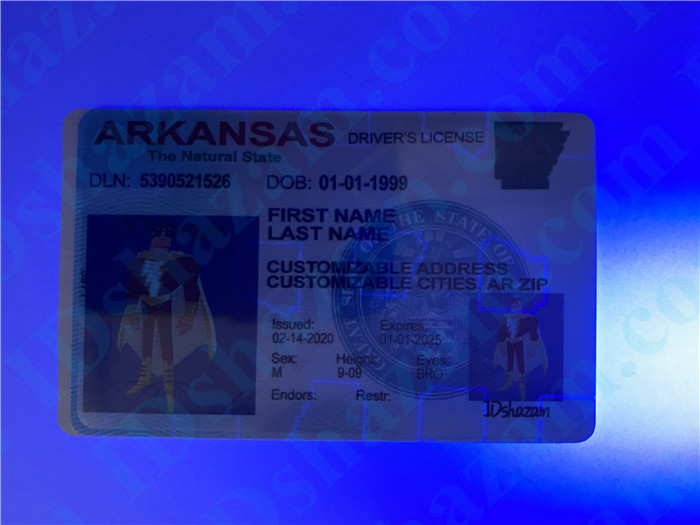 Premium Scannable Arkansas State Fake ID Card UV Anti-Counterfeiting Layer