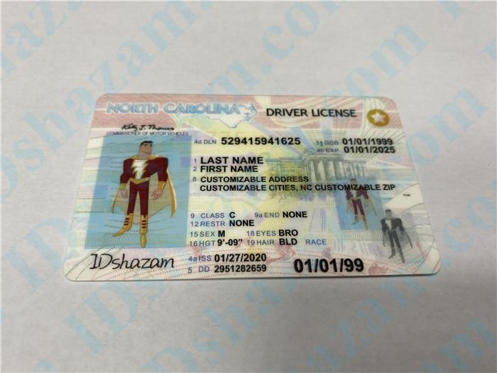 Premium Scannable North Carolina State Fake ID Card Positive Display