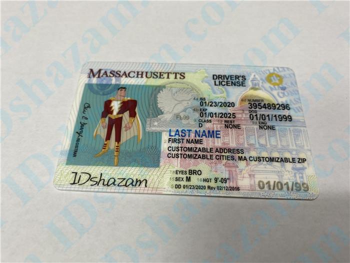Premium Scannable Massachusetts State Fake ID Card Positive Display