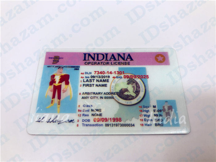 Premium Scannable Indiana State Fake ID Card Positive Display