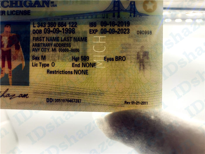 Premium Scannable Michigan State Fake ID Card Laser Micro-Perforation