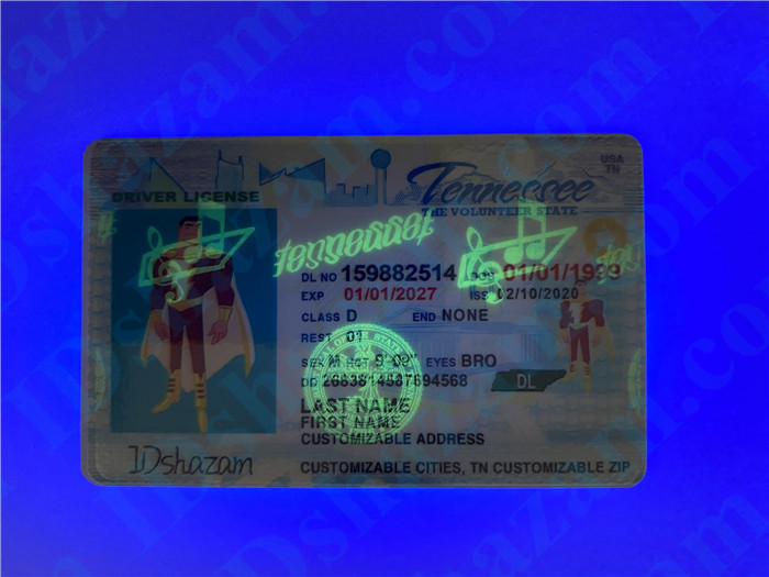 Premium Scannable Tennessee State Fake ID Card UV Anti-Counterfeiting Layer