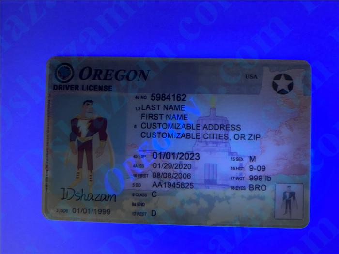 Premium Scannable Oregon State Fake ID Card UV Anti-Counterfeiting Layer