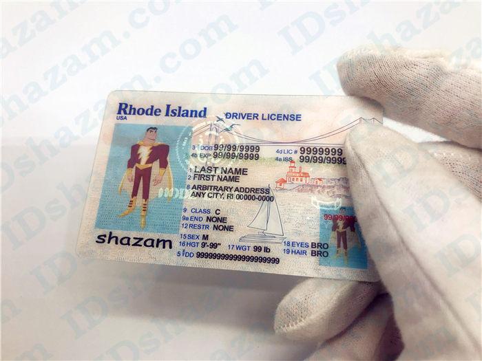 Premium Scannable Rhode Island State Fake ID Card Handheld Display