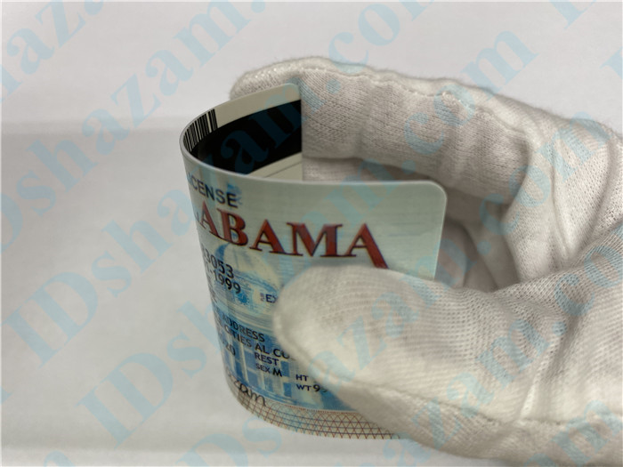 Premium Scannable Alabama State Fake ID Card Bending Display