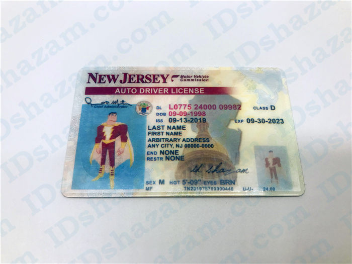 Premium Scannable New Jersey State Fake ID Card Positive Display